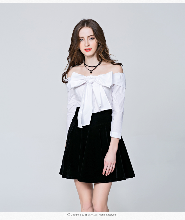 2016  new brand fashion female casual off shoulder slash neck all-match big bow designer solid color shirts blouse tops