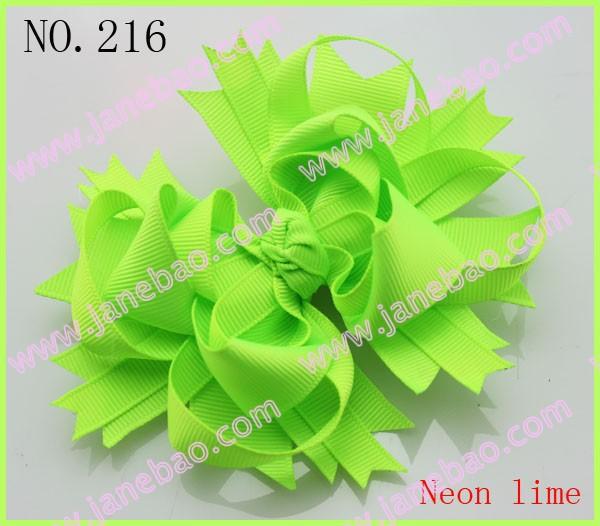 free shipping 145pcs 4.5' neon hair bows neon funky bows' B solid ribbon hair bows girl hair bow clips(China (Mainland))