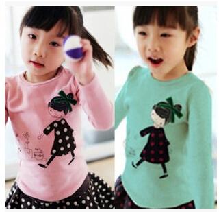 NEW 2015 Retail Kids Cotton Tops Cartoon Girl Print Long Sleeve T shirts Children Girls T Shirt Top Tee Children's Clothing(China (Mainland))
