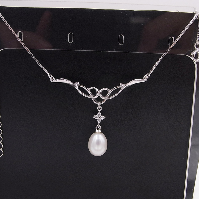100% pure sterling silver set Genuine Natural freshwater Pearl women fine jewelry  pendant Necklace <br><br>Aliexpress