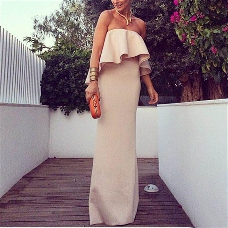 2015 New Summer Solid Women Long Dress Strapless Sleeveless Khaki A-Line Maxi Dresses Women Long Maxi Dress vestido longo robe(China (Mainland))