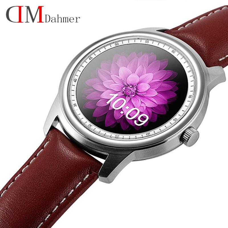 Оригинал DM365 Bluetooth 4.0 Смарт-часы MT2502A 360*360 IPS полный вид и Кожаный ремешок Шагомер сна монитор для iOS и Android