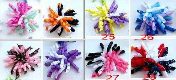 hjk Children's curlers bows flowers hair barrettes Children's korker ribbon hair clip 50pcs/lot(China (Mainland))