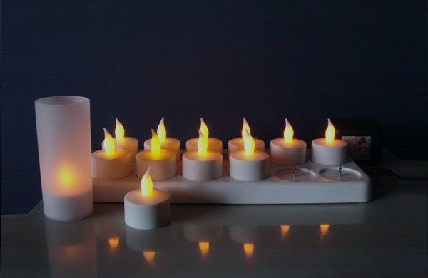 Rechargeable LED Candle Light(12pcs) family, bar, coffee house, teahouse, restaurant, KTV, SPA beauty club Candles-free shiping(China (Mainland))