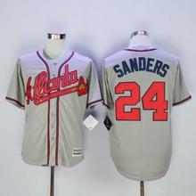 Atlanta Braves #24 Deion Sanders Jersey White Home Gray Road Navy Blue Red Cream Stitched Deion Sanders Baseball Jerseys(China (Mainland))