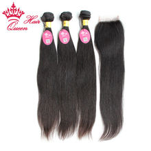 Buy Queen Hair Products 8A Hair Peruvian Straight Human Hair Bundles Lace Closure Mixed Natural Color Unprocessed Virgin Hair for $149.60 in AliExpress store