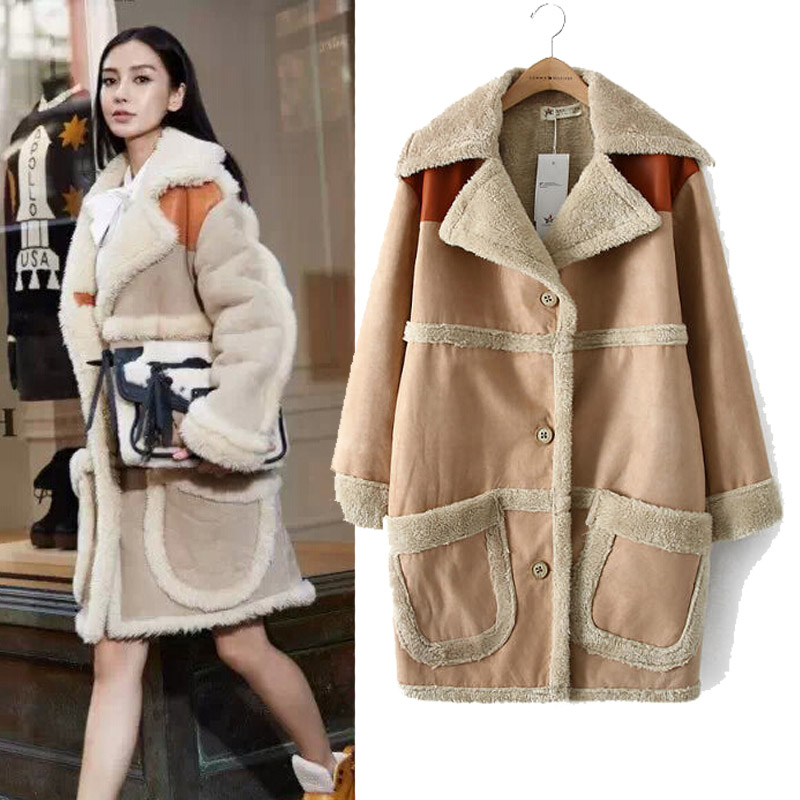 2015 fall and winter clothes punk star style long lambs wool coat female big pocket cotton jacket outwear(China (Mainland))