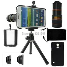 9 Piece Camera Photo Lentes Kit:8x Zoom Tripod Telephoto +Fisheye&Macro&Wide-angle Lens+Cover Case For Samsung Galaxy S5 I9600(China (Mainland))