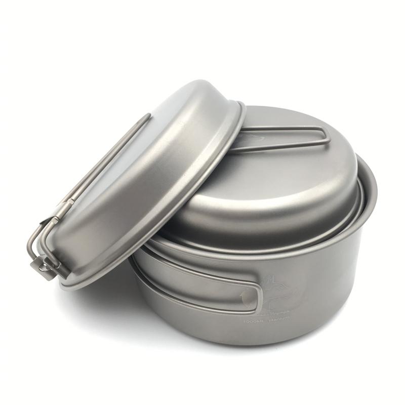 Фотография Boundless Voyage Titanium Pot Camping Pot Set Outdoor Cookware Folding Pan  Ti1513B