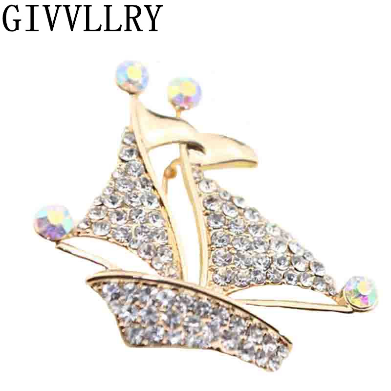 Fashion Gold Sailboat Crystal rhinestone brooches for wedding bouquets brooches luxury scarf brooches for women christmas gift(China (Mainland))