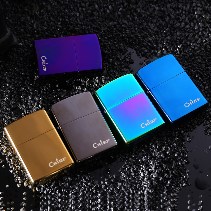 metal kerosene lighter windproof turbo lighter fire starter flint match lighter fashion design blue black metal kerosene lighter(China (Mainland))