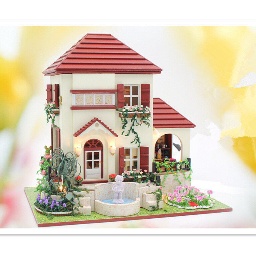 2015 New Coming Handmade DIY Wooden Doll House Christmas Toys for Children/Friends, Miniature Dollhouse-The Love of Gesang<br><br>Aliexpress