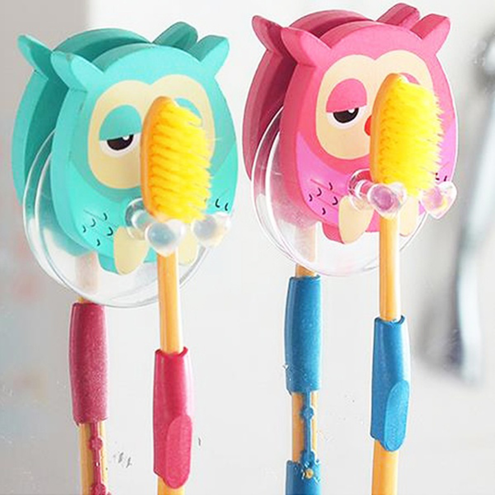 Vintage Wooden Toothbrush Holder Cartoon Owl Suction Hook Toothbrush Rack Wall Suction Holder Bathroom Sets 2 Colors(China (Mainland))