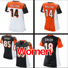 Women's #18 A.J. Green #85 Tyler Eifert #14 Andy Dalton Ladies Light black white orange Game 100% Stitched Logos Free shipping(China (Mainland))