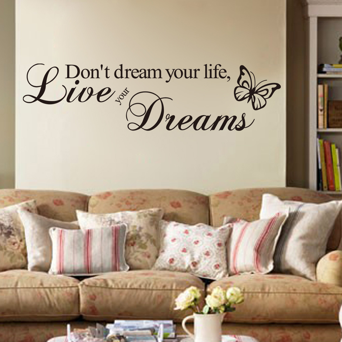 ZooYoo Don't dream your life.Live your Dream Butterfly English Quotes DIY Decor Wall Sticker Art Decals 20*60cm(China (Mainland))