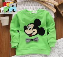 wholesale 4pcs/lot 2015 new kids clothes 1~4years baby boys and girls sweatshirts cartoon  cotton spring autumn sweatshirt(China (Mainland))