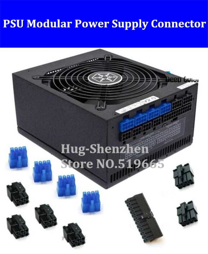 11pcs/lot PSU Modular Power Supply 24Pin 8pin 6pin plastic shell Connector for SilverStone 750W/850W/1000W(China (Mainland))