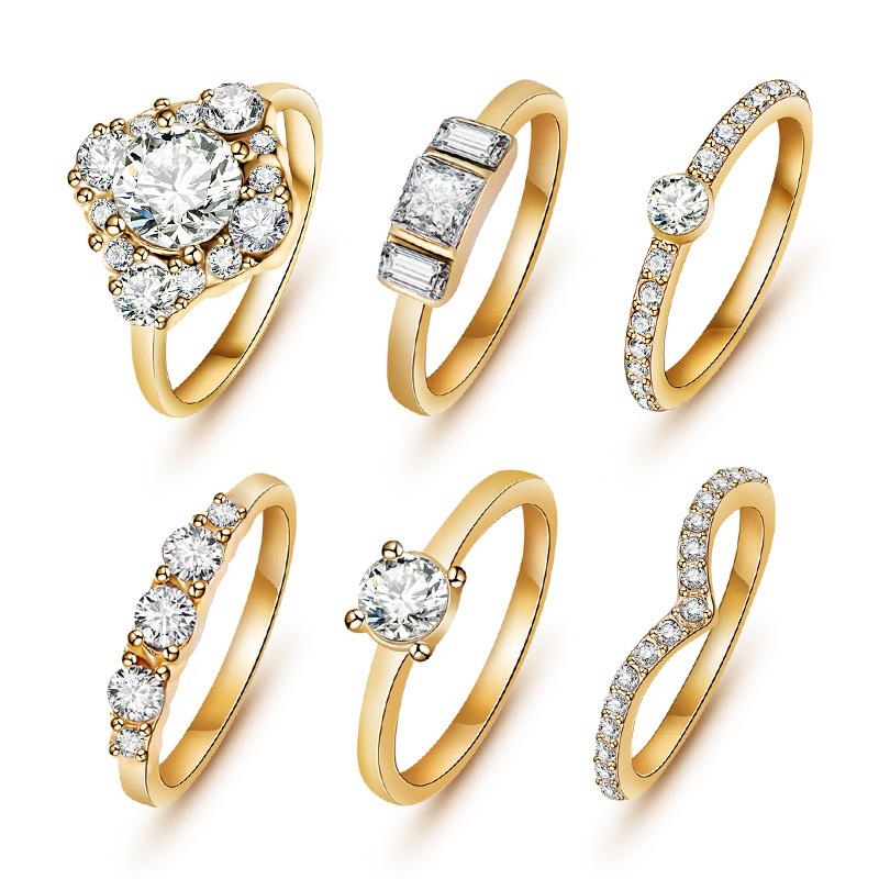6pcs Set Hot Shiny 18k Gold Crystal Austrian Zircon Rings Set