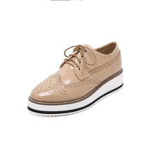 Women Flats Slip Vintage Genuine Leather Lace Loafers Spring Autumn Creepers Casual Platform Oxfords Shoes - J&A Brand Store store