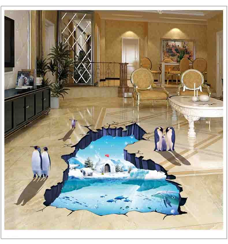 3d Polar Glacier Penguin Wall Stickers For Kids Rooms Home