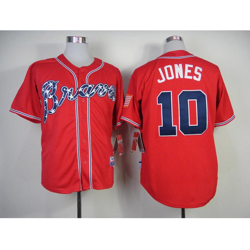 cheap men kids youth 2014 Atlanta Braves Jerseys 10# Chipper Jones jersey shirt Embroidery logos sportswear<br><br>Aliexpress