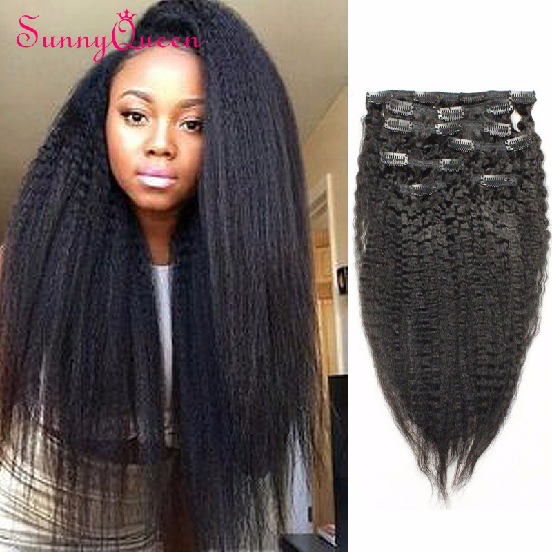 7A African American Clip In Human Hair Extensions 7 pcs 120g  Mongolian Virgin Hair Clip In Hair Extensions 10″-26″ Clip Ins