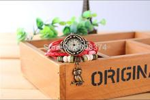 AUTO GAME 100 pcs/lot New Fashion Cow Leather with wooden bead ,Retro little Owl dress Analog Free shipping(China (Mainland))
