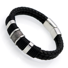 Handmade Genuine Leather Weaved Double Layer Man Leather Bracelets Casual/Sporty Bicycle Motorcycle Delicate Cool Men Jewelry(China (Mainland))