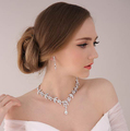 Cheap water drop crystal bridal jewelry sets Shiny silver wedding necklace earring sets popular jewelry sets