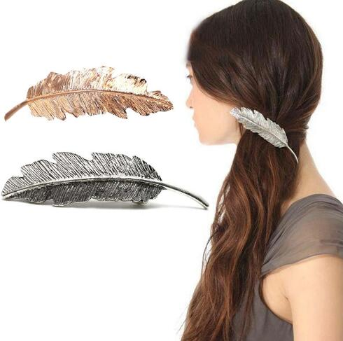 1pcs Hight Quality Women Lady Girl Fashion Metal Leaf Shape Hair Clip Crystal Pearl Hairpin Barrette Hair Accessories(China (Mainland))