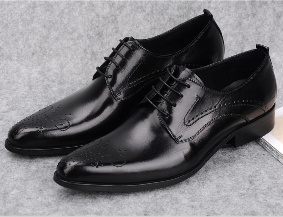 2016 designer black oxfords shoes mens dress shoes genuine leather