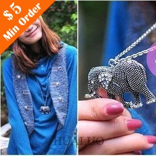 2016 Hot Sales Small Jewelry New Girl Vintage Carved Elephant Imitation Diamond Necklace 88N575(China (Mainland))