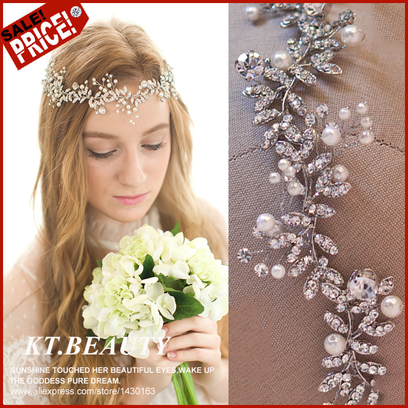 2016 New Handmade Gold/Silver Leaf Wedding Headpiece Bridal Headband Floral Hair Accessories Vintage Women Headbands Tiara(China (Mainland))
