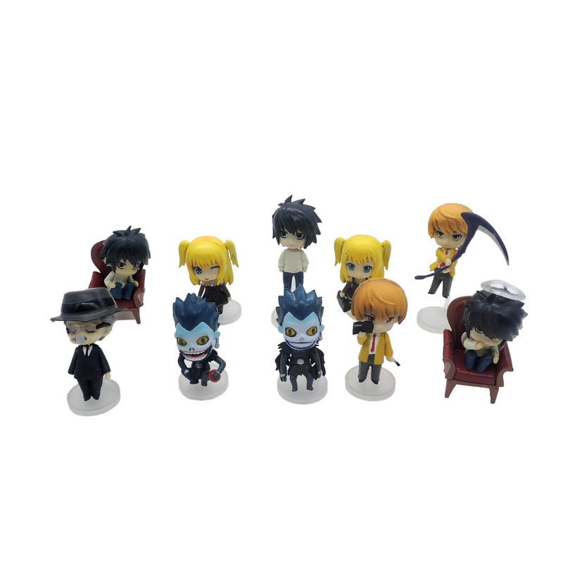 Anime Death Note L Lawliet Yagami Light Killer Ryuuku Misa Amane Q Version PVC Action Figure Model Toys 11pcs/set 8cm(China (Mainland))