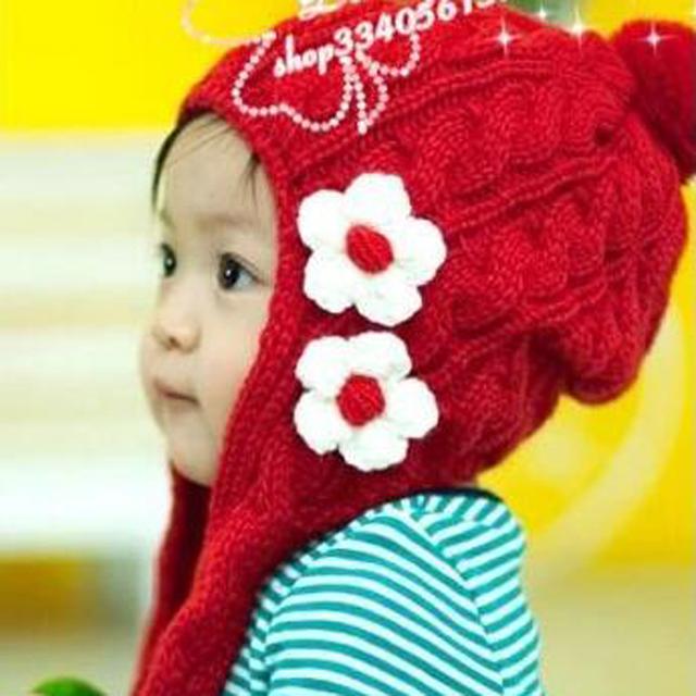 1 Шт Розничная оптовая Цена бесплатная доставка Детская шапка зимняя детская Красный кролик Цветок шапки baby Животных cap Мальчики и Девочки caps