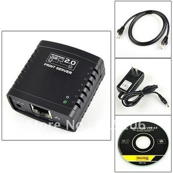 Free Shipping LPR USB 2.0 Network Print Server  Printer Share Ethernet W/wireless Networking