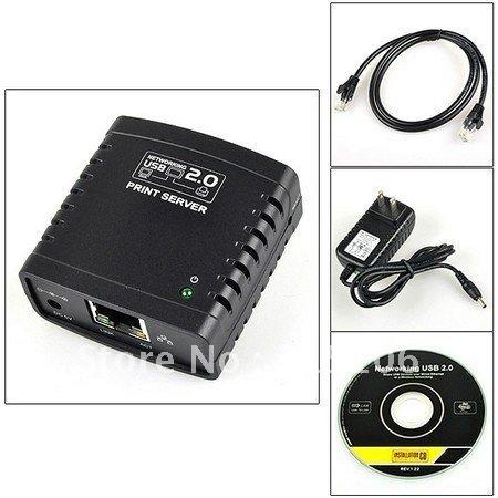 Free Shipping LPR USB 2.0 Network Print Server Printer Share Ethernet W/wireless Networking(China (Mainland))