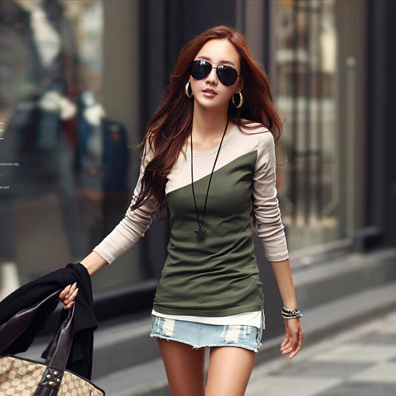Poleras mujer мода контрастного цвета 2015 футболка с