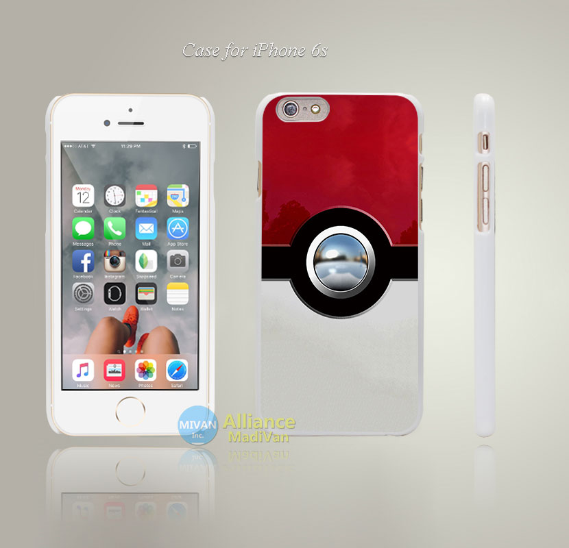 New Pokemons balls Style Hard White Case Cover Coque for iPhone 4 4s 4g 5 5s 5g 5c 6 6s 6 6s Plus(China (Mainland))