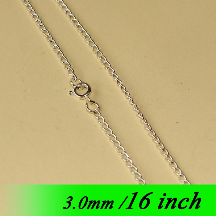 Bulk Jewelry Links Accessories For Metal Women Men Necklace Pendants 16 Fashion 3mm Curb Chains With Round Clasps Silver Plated<br><br>Aliexpress