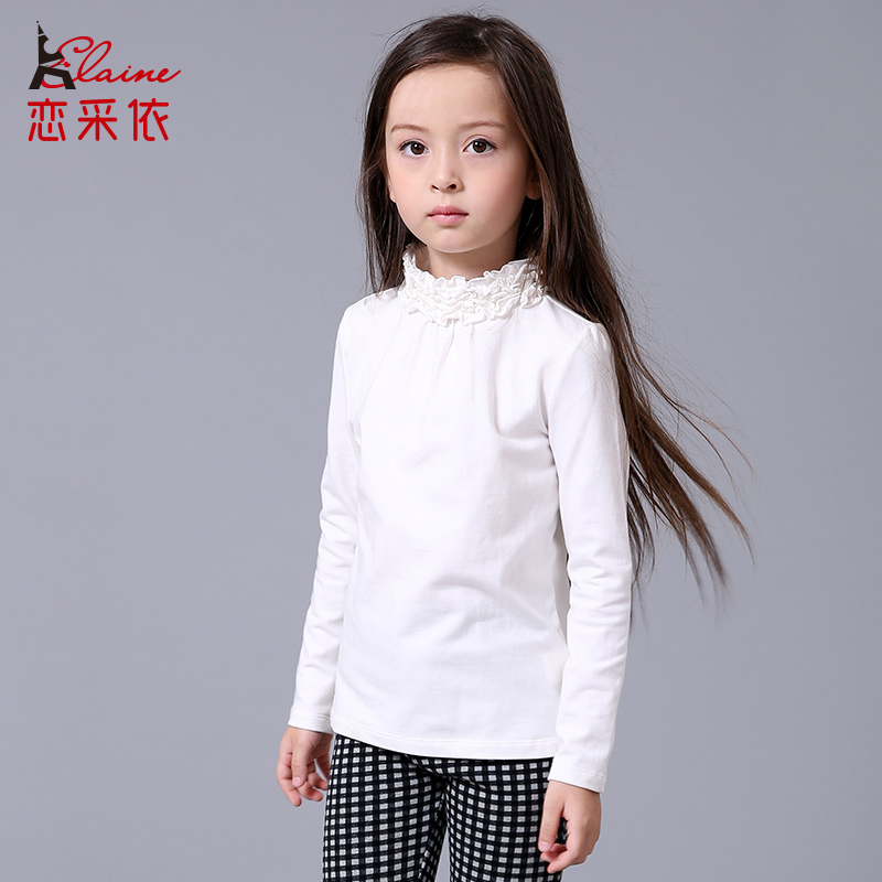 2016 Winter Children Cotton T Shirts Baby Girls High Neck Bottoming Shirt Kids Tops&Tee(China (Mainland))