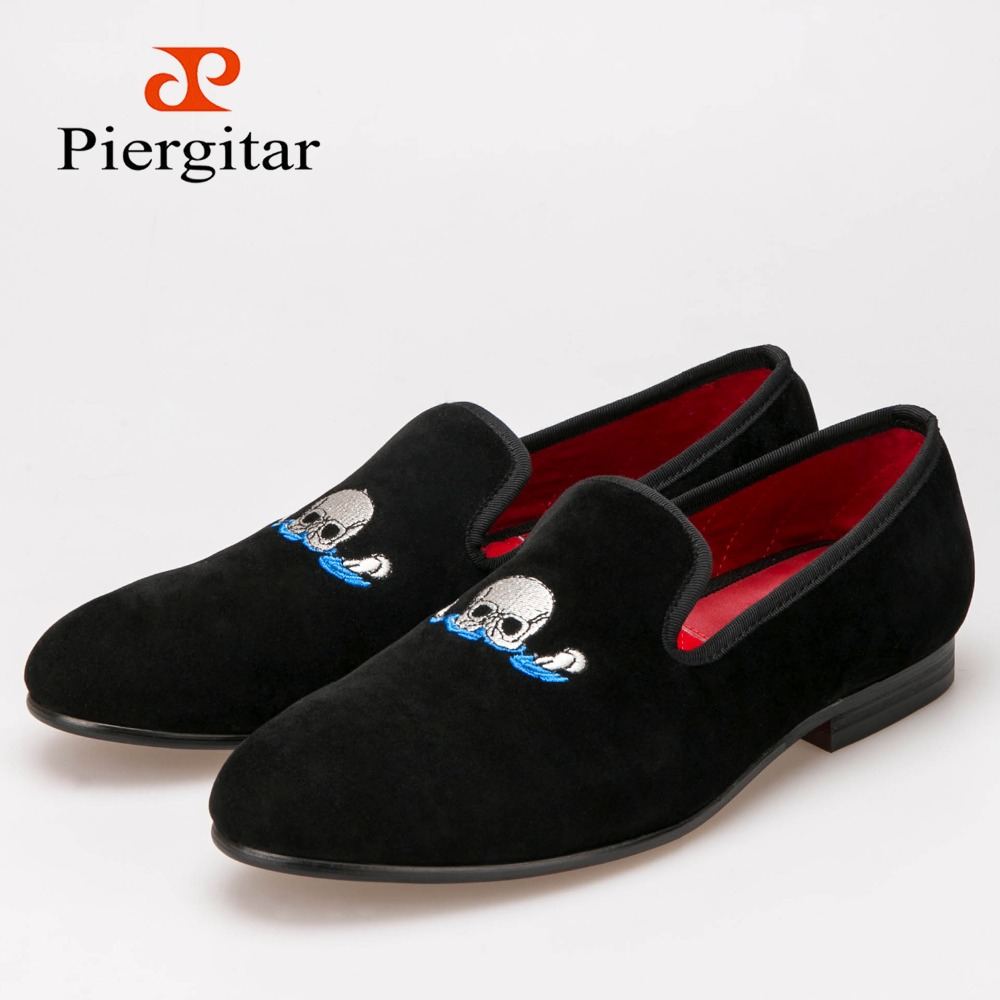 Men Piergitar Handmade Black Velvet Slippers Loafers With Skull embroidery Smoking Slippers Size US 6-13 Free shipping