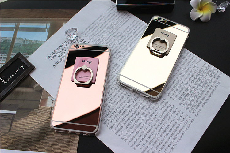 Low price Mirror TPU with Ring Stand Back Cover Case for iphone 5S SE 6S&6 PLUS