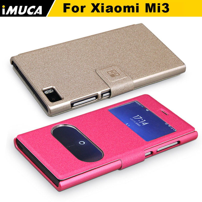 IMUCA Brand Phone Leather Case for Xiaomi redmi3 Vertical Flip Window View Cover Case for Xiaomi Hongmi 3 with retail package(China (Mainland))