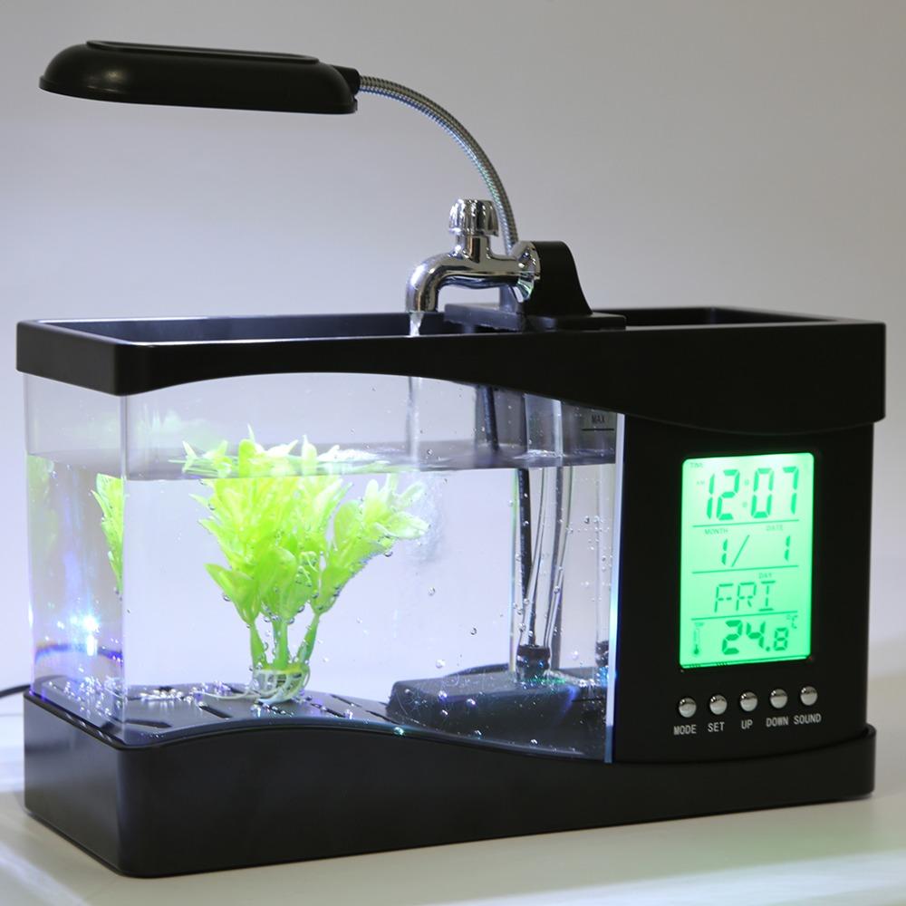 2016 Top Sale USB Desktop Mini Fish Tank Aquarium LCD Timer Clock LED ...