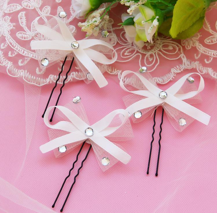 6pcs bride hand bow hair ribbon bow speed hair bridal jewelry studio wedding jewelry(China (Mainland))