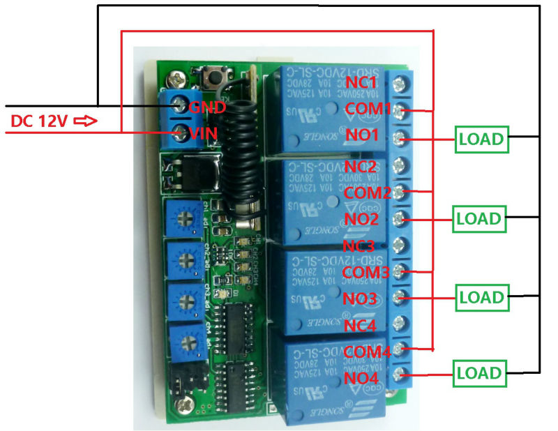 433M DC 12V 4Ch Timer RF Wireless Controller Delay Relay Learning ...