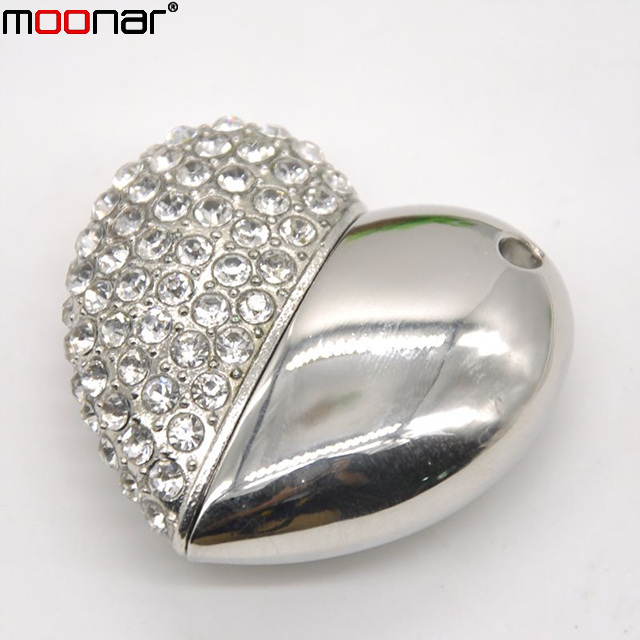 100% Real 8GB Fashion Jewelry Crystal Necklace Heart 2.0 usb flash disk pendrive memory stick/card gift X60*DA1381W2#M10(China (Mainland))