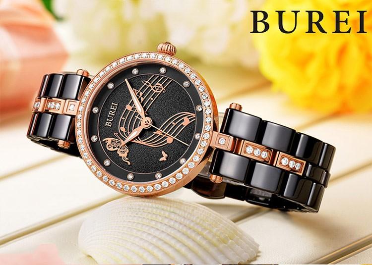 BUREI 2016 Розовое Золото Женщины Моды часы Женские Керамические Ремешок Водонепроницаемый Кварцевые часы Роскошные Rhinestone Леди Аналоговые Наручные Часы