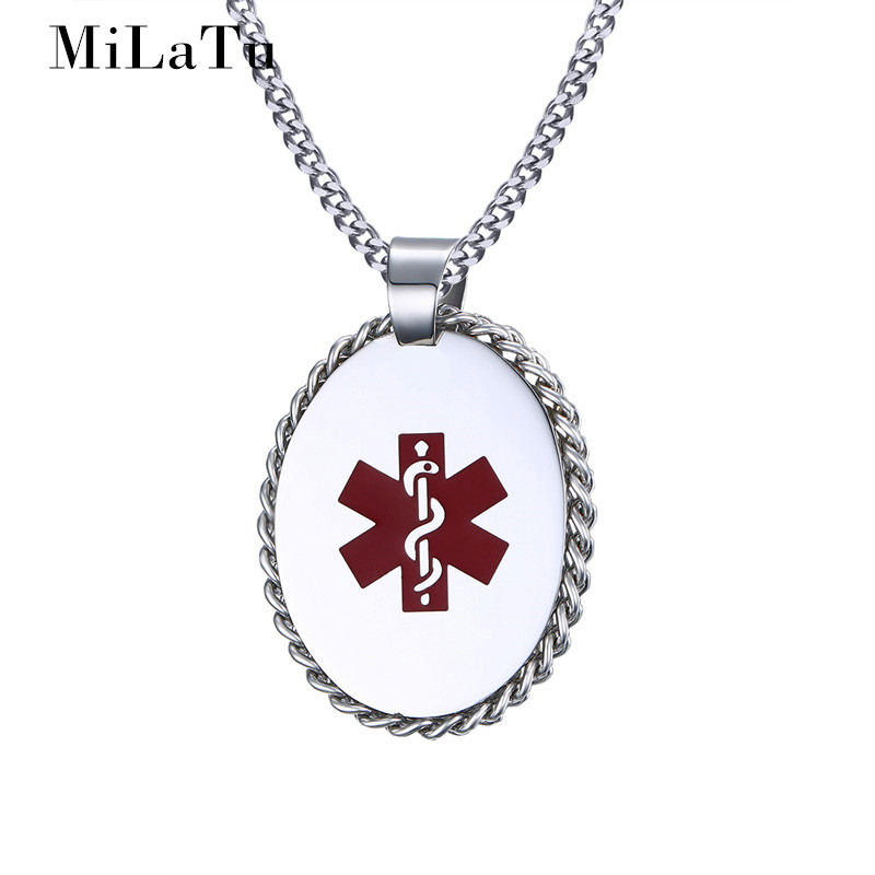MiLaTu Personality Men Medical Necklaces & Pendants Stainless Steel Chain Pendant With Snake Vintage Male Jewelry NE262G